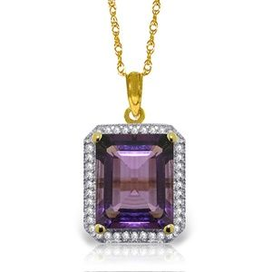 GOLD NECKLACE WITH NATURAL DIAMONDS & AMETHYST